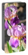 Two Purple Irises Portable Battery Charger