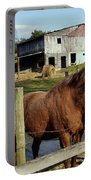 Two Quarter Horses In A Barnyard Portable Battery Charger
