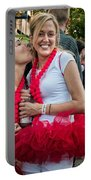 Two Red Tutus At Running Of The Bulls Portable Battery Charger