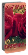 Two Roses. Happy Anniversary Portable Battery Charger