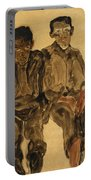 Two Seated Boys Portable Battery Charger by Egon Schiele