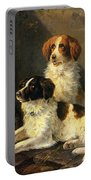 Two Spaniels Waiting For The Hunt Portable Battery Charger