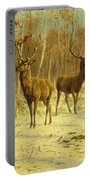 Two Stags In A Clearing In Winter Portable Battery Charger