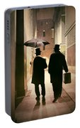 Two Victorian Men Wearing Top Hats In The Old Alley Portable Battery Charger