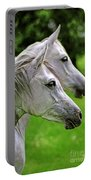 Two White Arabian Mares Portable Battery Charger