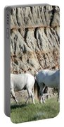 Two Wild White Stallions Portable Battery Charger by Sabrina L Ryan