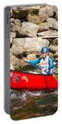 Two Women Paddling A Whitewater Canoe Portable Battery Charger