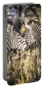 Two Zebras Equus Quagga Nuzzlling Portable Battery Charger