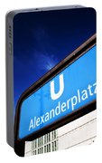 Ubahn Alexanderplatz Sign And Television Tower Berlin Germany Portable Battery Charger