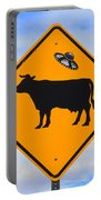 Ufo Cattle Crossing Sign In New Mexico Portable Battery Charger