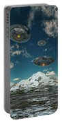 Ufos Flying Over A Mountain Range Portable Battery Charger