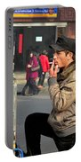 Uighur Street Side Bread Vendor Smokes Shanghai China Portable Battery Charger