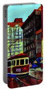 Umbrellas In The Rain Couples Stroll St.catherine Street Downtown Montreal Vintage  City Scene  Portable Battery Charger