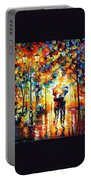 Under One Umbrella - Palette Knife Figures Oil Painting On Canvas By Leonid Afremov Portable Battery Charger