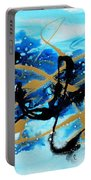 Under The Sea Original Abstract Blue Gold Painting By Madart Portable Battery Charger