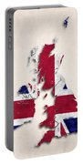 United Kingdom Map Art With Flag Design Portable Battery Charger