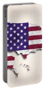United States Map Art With Flag Design Portable Battery Charger