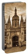 University Entrance Door Sepia Portable Battery Charger