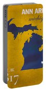 University Of Michigan Wolverines Ann Arbor College Town State Map Poster Series No 001 Portable Battery Charger
