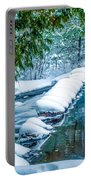 Upper Part Of Bond Falls In Winter Portable Battery Charger