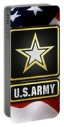 U. S. Army Logo Over American Flag. Portable Battery Charger