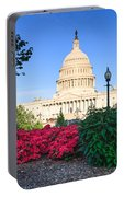 Us Capitol And Red Azaleas Portable Battery Charger