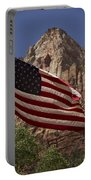U.s. Flag In Zion National Park Portable Battery Charger