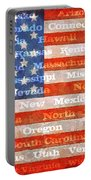 Us Flag With States Portable Battery Charger