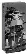 Uss Iowa Battleship Starboardside Bridge 02 Bw Portable Battery Charger