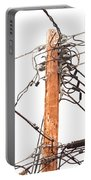 Utility Pole Hung With Electricity Power Cables Portable Battery Charger