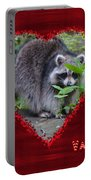 Valentine's Day Greeting Card - Raccoon Portable Battery Charger