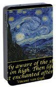 Van Gogh Motivational Quotes - Starry Night II Portable Battery Charger