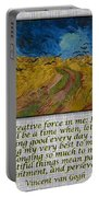Van Gogh Motivational Quotes - Wheatfield With Crows II Portable Battery Charger