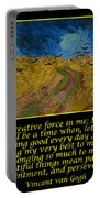 Van Gogh Motivational Quotes - Wheatfield With Crows Portable Battery Charger