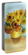 van Gogh Sunflowers in watercolor Portable Battery Charger
