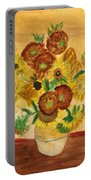 van Gogh's Sunflowers in Watercolor Portable Battery Charger