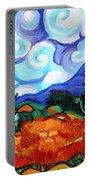 Van Goghs Wheat Field With Cypress Portable Battery Charger