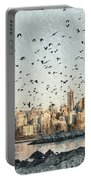 Vancouver Skyline With Crows Portable Battery Charger