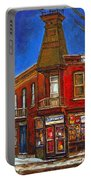 Vanishing Montreal Landmark Depanneur Ste. Emilie And Bourget Montreal Painting By Carole Spandau  Portable Battery Charger