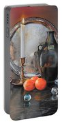 Vanitas Still Life By Candlelight With Clementines 1 Portable Battery Charger
