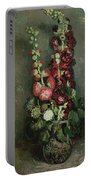 Vase Of Hollyhocks Portable Battery Charger