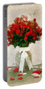 Vase Of Red Roses Portable Battery Charger