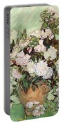 Vase With Pink Roses Portable Battery Charger