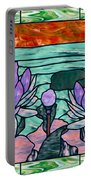 Vector Illustration Of Flower Sunflower In Stained Glass Window  Portable Battery Charger