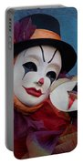 Venetian Carnival - Portrait Of Clown With Mask Portable Battery Charger