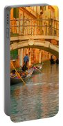 Venice Boat Bridge Oil On Canvas Portable Battery Charger