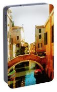 Venice Italy Canal With Boats And Laundry Portable Battery Charger