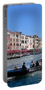 Venice Italy Gondola With Tourists Floats On Grand Canal Portable Battery Charger