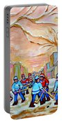 Verdun Back Lane Hockey Practice Montreal Winter City Scen Painting Carole Spandau Portable Battery Charger