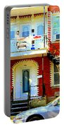 Verdun City Street Triplex Apartment Outdoor Winding Stairs Montreal Scenes Primary Colors C Spandau Portable Battery Charger